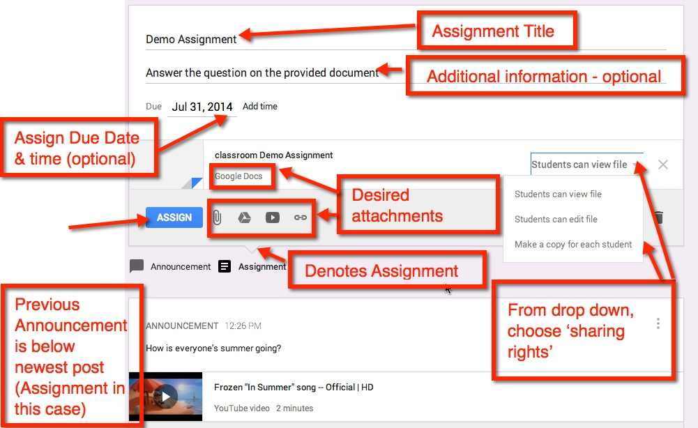 managing assignments in google classroom